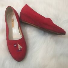 cb08c728f3a4 Gucci Vintage Red Sailboat Wedge Espadrilles Size 36.5   6.5
