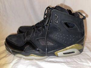 Mens Black and Gold Air Jordan Flight Club Shoes - size 8. 555475-031