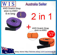 2 in 1 Set Snatch Strap 60mm x 8m Length BS:12 Ton 4x4 4WD Recovery Tow Straps
