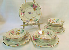 Royal Imperial Czechoslovakia 4 Cream Soup Bowls Under Plates Multisided Gold