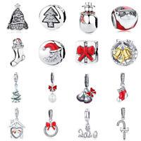 European Soild 925 Sterling Silver Charm Bead Women Girls Christmas Fit Bracelet
