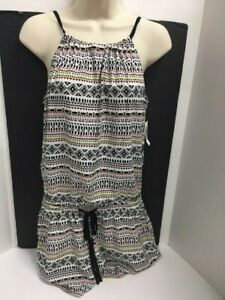Old Navy Rompers Shorts Rayon White Printed Black Combo Womens Sz XS NWT Summer