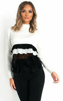 IKRUSH Henrietta Frill Shirt Hem Jumper  WHITE UK M/L