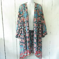 New Tolani Ramina Kimono 1X Blue 3/4 Sleeve Printed Duster Cardigan Plus Size
