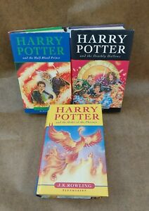 3 x Harry Potter 1st Edition Books. Deathly Hallows Half Blood Prince & Phoenix.