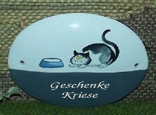HDA-0685-  Keramik-Türschild - Katze mit Napf Gravierf.grau- Handarbeit - Unikat