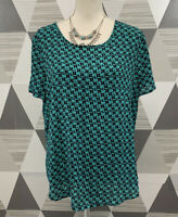Pleione Women's Size L Green Scoop Neck short Sleeve Top Blouse #5C41