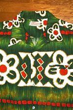VTG 50S 60S Mens Ross Sutherland BARKCLOTH Tiki Cotton Hawaiian Shirt LOOP EC M?