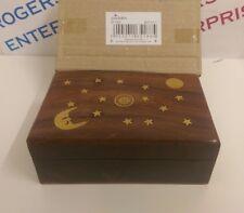 Sheesham Wood Indian Rosewood Trinket Box Gift Sun Moon & Stars Brass Inlay NEW