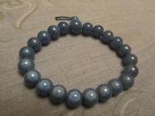 Shiny Blue Small Plastic Bead Elasticated Bracelet