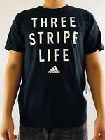 Adidas Men's Shirt Tee 3 Three Stripe Life Carded Black White CD9484 Size M