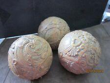 "3 Ornate wood decorative 10"" balls nice detailed"