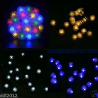 Solar Power LED Snowball Garlands Garden Party Xmas String Fairy lights Lamp