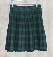 Paris Sport Club World Wide Blue Green Plaid Pleated Skirt Size 10 USA