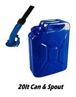 BLUE 20L JERRY CAN 20 ltr Litre metal fuel petrol diesel oil  + FLEXI SPOUT