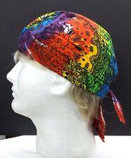 Tie Dye Paisley Do Rag Danbanna Deluxe Du Rag Rainbow Bandana Headwrap Skull Cap