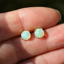 14k Gold Filled Natural Ethiopian Welo Opal Round Stud Earrings 6mm Gift Boxed