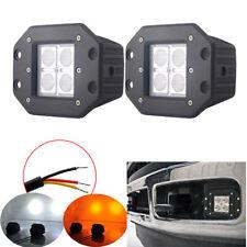 """2x 5"""" Amber/White Flush Mount LED Work Light Pods Flood Beam For SUV Truck Boat"""