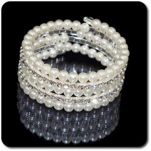 Bracciale di Perle Strass Paris Matrimonio Accessori da Sposa 25 MM
