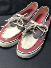 Sperry Top-Sider Bahama Navy Blue Red Anchor & White Boat Shoes Flats Size 7M 7