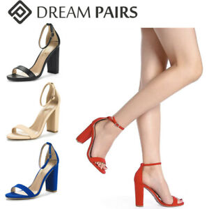 DREAM PAIRS Women's High Chunky Heel Sandals Wedding Party Open Toe Dress Shoes
