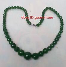 "Fashion Natural Green Jade Beads Jewelry Necklace 17"" AAAAA grade !"