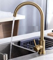 New Deck Mounted Brushed Gold SUS304 Kitchen Sink Faucet Vanity Basin Mixer Tap