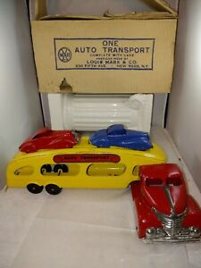 Marx ORIGINAL Deluxe Auto Transport Truck w/ 2 Cars and Original Box RARE