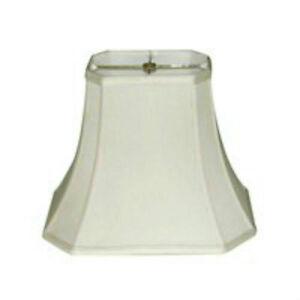 "12"" Off White Lampshade Rectangular Cut-Corner Lamp Shade Shantung Silk NEW"