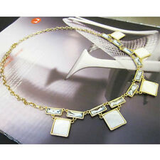 Anthropologie White Boxed Glint Gold Necklace