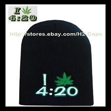 420 POT LEAF I LOVE Marijuana Dope Beanie Hat Ski Skate Snow Board
