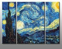 Quadro Moderno 3 Pezzi 120X90 Stampa su Tela Arredo Notte Stellata Casa Van Gogh
