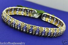 1.41ct 18k Two tone Gold Flexible Cuff Natural Diamond Bangle Bracelet 15.7 Gram