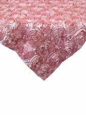 "10 Pink 54""x54"" Rosette Rose Satin Table Overlays 3D Tablecloths Event Wedding"