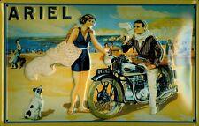 Ariel Motorcycle Beach Blechschild Schild 3D geprägt gewölbt Tin Sign 20 x 30 cm