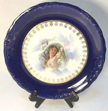 """Atq Decorative 10"""" Plate Sevres Royal Blue and Gold with Woman and Flowers"""