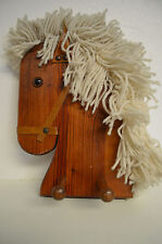 Wood crafted coat rack made like a Horse, with mop hair, part leather, 2 hooks.