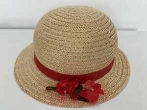 Vintage Retro Children's Straw Hat with Flowers & Red Ribbon