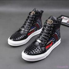Mens Rivet Sport Sneaker Boots Lace up Spike High Top leather shoes high top
