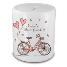 Personalised New Bike Money Box piggy bank saving any name Bike Fund