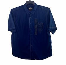 Harley Davidson Navy Blue Embroidered Skull Wings Short Sleeve Shirt Men 3XL