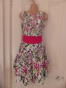 Pretty UK12 Dorothy Perkins white dress with floral pattern, wide pink tie belt