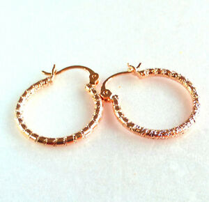 Women Girl Sparkling Hoop Earring 18K Gold Plated 24mm Small Snap Closure UK