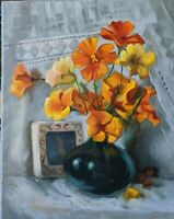 """Summer Flowers"" Original canvas oil painting Impressionism still life 14x11"""