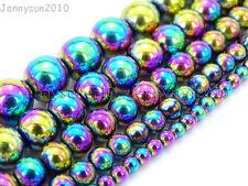 "Multi-Colored Natural Hematite Gemstone Round Ball Beads 16"" 4mm 6mm 8mm 10mm"