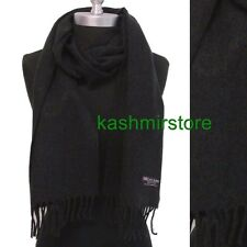 New 100% CASHMERE SCARF SOLID Charcoal Black Made in Scotland Soft Wool Unisex