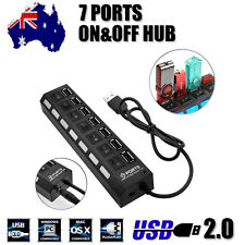 LED Switch 7 Port USB 2.0 HUB Powered High Speed 480Mbps Splitter Extender Cable