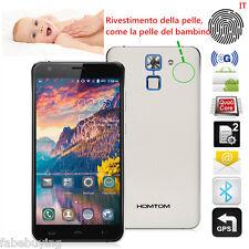 """HOMTOM HT30 0.2S Fingerprint Unlock Simil-pelle Caso Cellulare 2SIM GPS 5.5"""" 3G"""