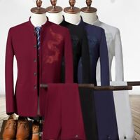 mens dragon embroidery slim coat single-breasted stand collar suit pant vest new