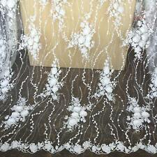 3D Flower Embroidery Lace Fabric Material Crafts DIY Bridal Wedding Dress 1 Yard